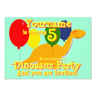 Dinosaur 5th Birthday Party Invitations