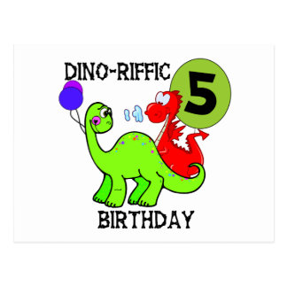 Dinosaur 5th Birthday T-shirts and Gifts Postcard