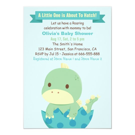 Dinosaur About to Hatch Baby Shower Invitations