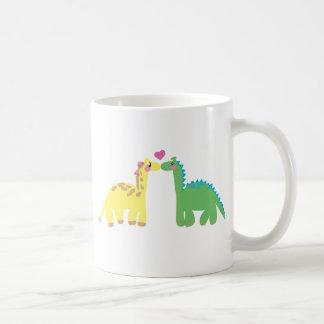 DINOsaur and a GIRAFFE Basic White Mug