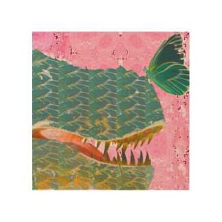 Dinosaur and Butterfly Art Print Wood Panel