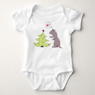 Dinosaur and Christmas Tree Baby Bodysuit