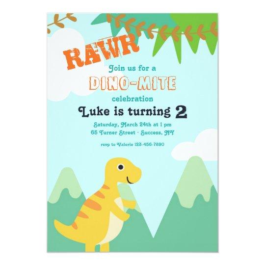 Dinosaur Baby Birthday Party Invitation