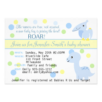 Dinosaur Baby Boy Shower Invitation customizable