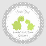Dinosaur Baby Shower Sticker Green