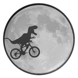 Dinosaur Bike & Moon Dinner Plate