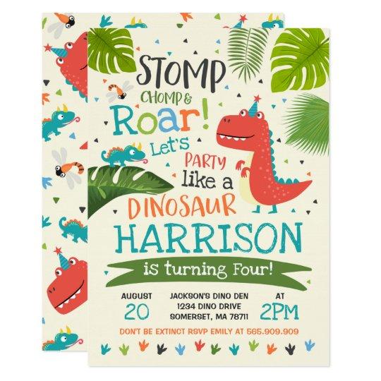 Dinosaur Birthday Invitation Dinosaur Roar Party