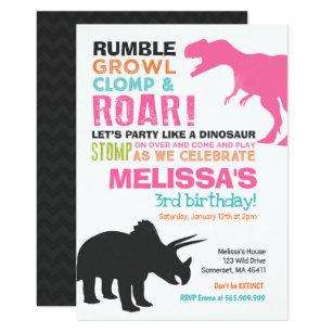 Pink dinosaur birthday invitations zazzle uk dinosaur birthday invitation girl dinosaur party filmwisefo