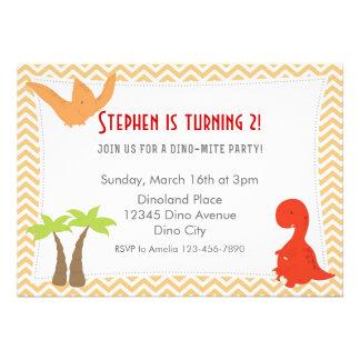 Dinosaur Birthday Invitation Orange Red Custom Invitation