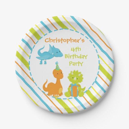 Dinosaur Birthday Party Dino Personalised Plate