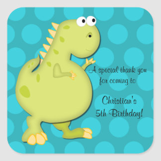 Dinosaur Birthday Party Thank You Stickers