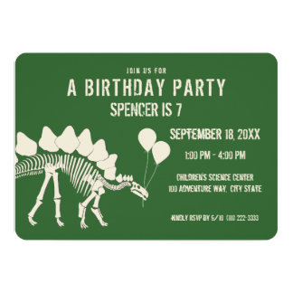 Dinosaur Birthday Stegosaurus with Balloons Card