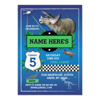 Dinosaur Blue Cops Fun T-Rex Blue Invitations