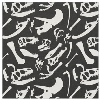 Dinosaur Bones (Black) Fabric