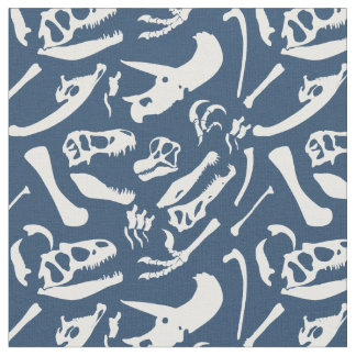 Dinosaur Bones (Blue) Fabric