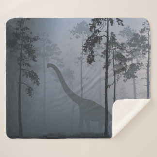 Dinosaur by Moonlight Medium Sherpa Blanket