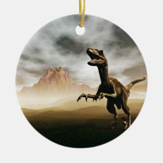 Dinosaur cartoon christmas ornament