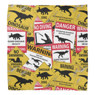 Dinosaur Caution Signs Head Kerchief