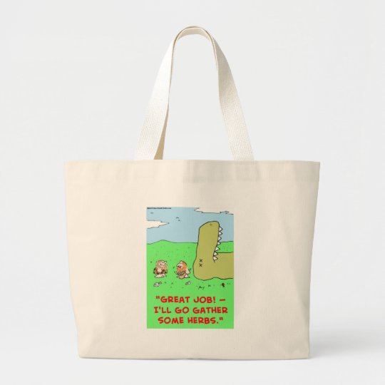 DINOSAUR CAVEMAN GATHER HERBS LARGE TOTE BAG