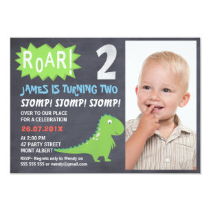 Dinosaur Chalkboard Photo 2nd Birthday Invitation