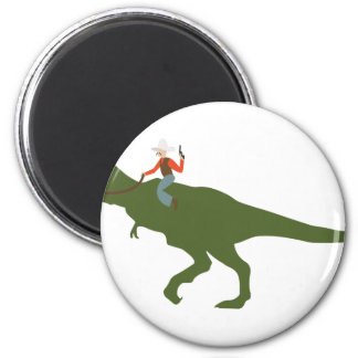 Dinosaur Cowboy 6 Cm Round Magnet