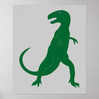Dinosaur Cretaceous Tyrannosaurus Cartoon Art Posters