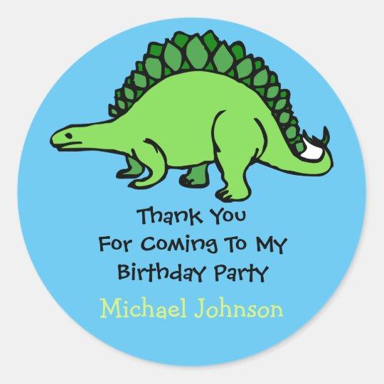 Dinosaur Custom Boy Name Birthday Thank You Favour