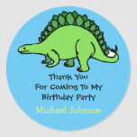 Dinosaur Custom Boy Name Birthday Thank You Favour Round Sticker