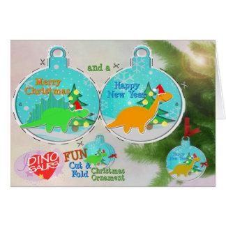 Dinosaur Cut & Fold Christmas Ornament Craft Card
