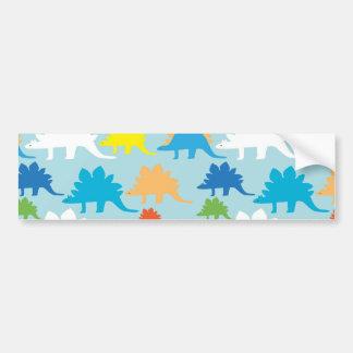 Dinosaur Designs Blue Orange Yellow Red Dinosaurs Bumper Sticker