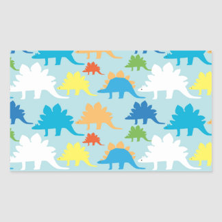 Dinosaur Designs Blue Orange Yellow Red Dinosaurs Rectangular Sticker