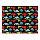 Dinosaur Designs Blue Red Green on Black Post Cards