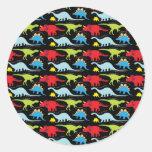 Dinosaur Designs Blue Red Green on Black Round Sticker