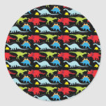 Dinosaur Designs Blue Red Green on Black Round Sticker