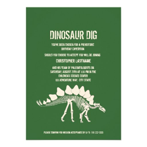 Dinosaur Dig Birthday 13 Cm X 18 Cm Invitation Card