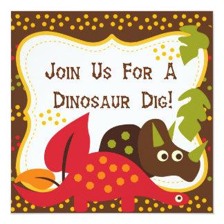 """Dinosaur Dig Birthday Invitations 5.25"""" Square Invitation Card"""