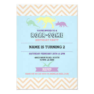 Dinosaur Dig Birthday Party T-Rex Dino Blue Invite