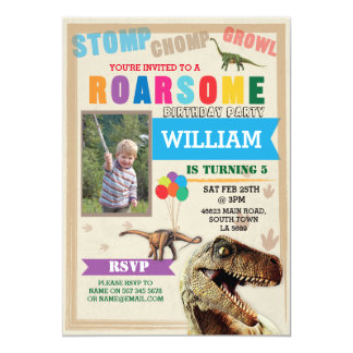 Dinosaur Dig Birthday Party T-Rex Photo Invite
