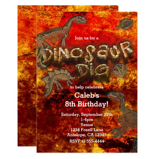 Dinosaur Dig Red Rock Fossils Birthday Invitations