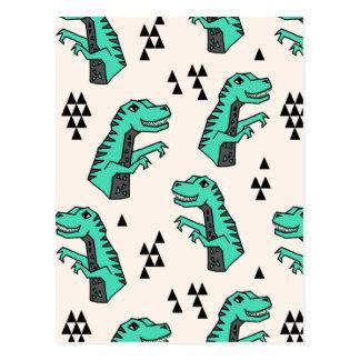 Dinosaur Dino Green T-Rex Boy / Andrea Lauren Postcard
