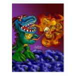 Dinosaur Dragon Cooking Marshmallows With Breath Postcards