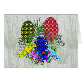 Dinosaur Easter Eggs Greeting Card