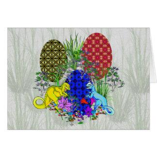 Dinosaur Easter Eggs Greeting Card