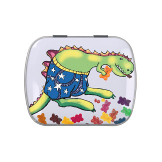 dinosaur eating lollies candy tin