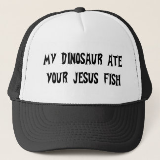 Dinosaur Eats Jesus Fish Trucker Hat