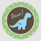 Dinosaur Envelope Seals, Baby Shower Favours Classic Round Sticker