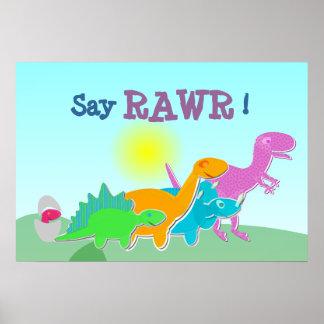 Dinosaur Family Say Rawr! Poster