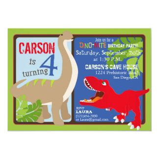 Dinosaur Fourth Birthday Invitation Card