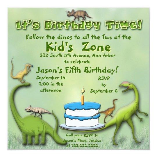 Dinosaur Friends Birthday Invitation