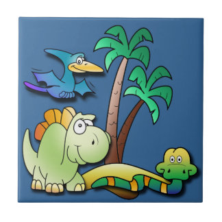 Dinosaur Friends Small Square Tile
